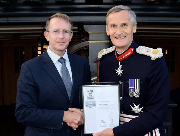 Keith Carnegie with Her Majesty's Lord-Lieutenant of Hampshire, Mr Nigel Atkinson.