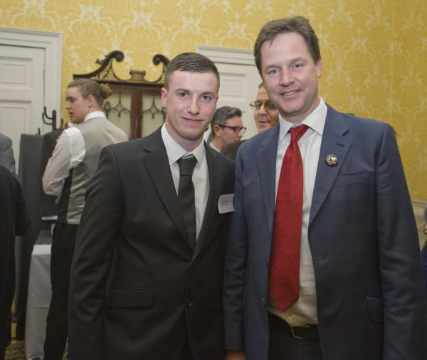 Bovis Homes apprentice Adam Elvin meets Nick Clegg at an apprenticeship event
