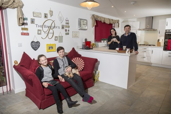 The Banger family enjoying their new Bovis Home