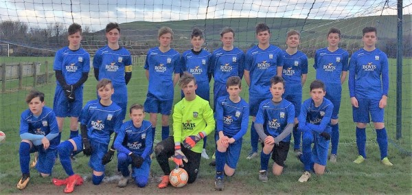 Braunton FC players sporting the kit sponsored by Bovis Homes