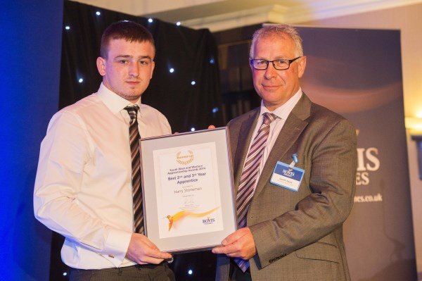 Harry Stoneman recieving his apprentice award