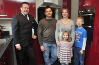 Richard, Linzi, George and Chloe with Paul Clarke from the Bovis Homes sales team