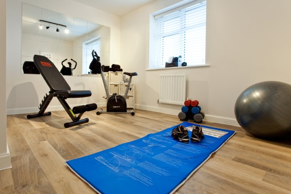 Spare room converted into home gym