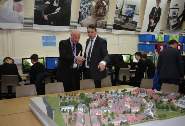 Kings' School's Ian Pickles (left) with Bovis Homes' Andy Meade (right)