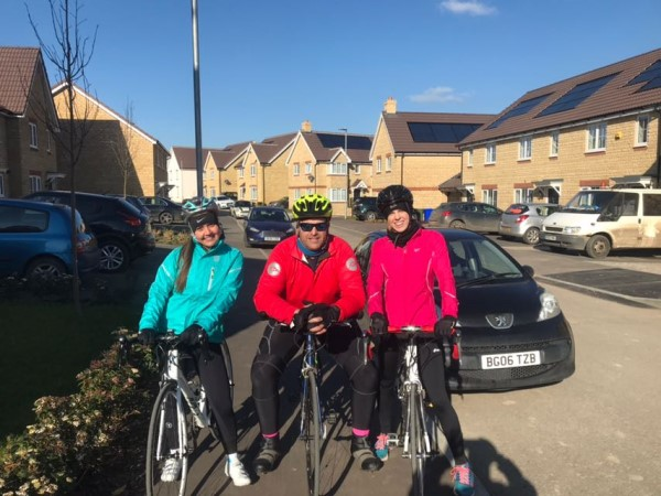 •Out on their bikes, from left to right: Emily Archer, Dom Cook and Stephanie Spry