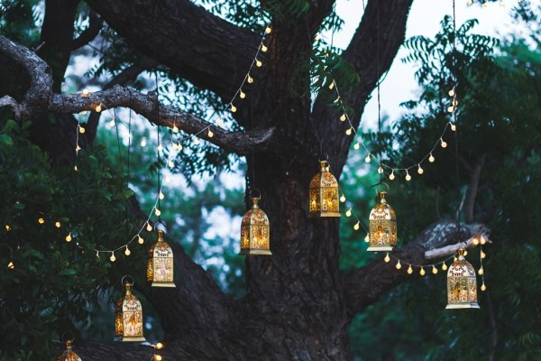 Outdoor lanterns and fairy lights decoration