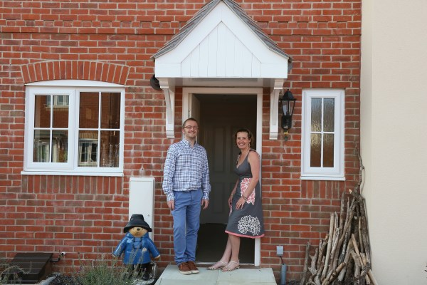 Lorna and Neil Apter happy with their new Bovis Home in Abbotwood in Romsey