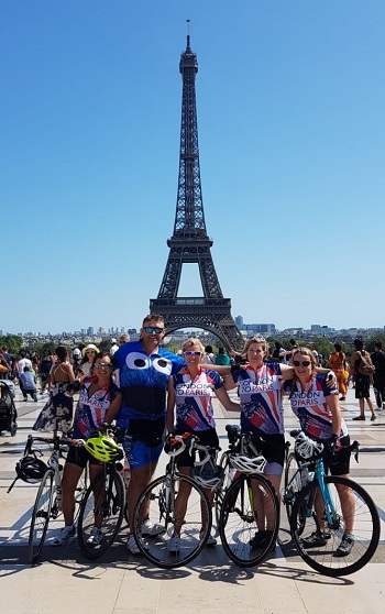 Image for Novice cyclists 'Tour de Friends' smash London to Paris charity target