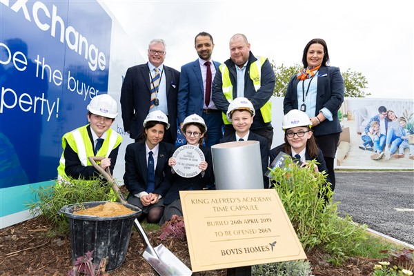 Image for Back to the future for King Alfred students as they bury time capsule on old school grounds