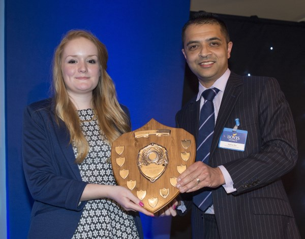Apprentice winner Zoe Hunt with Regional Managing Director Supriya Ray
